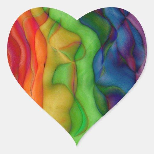 Viaje ácido del arco iris del hippy de Psychedlic Pegatina En Forma De Corazón