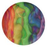 Viaje ácido del arco iris psicodélico del hippy plato para fiesta