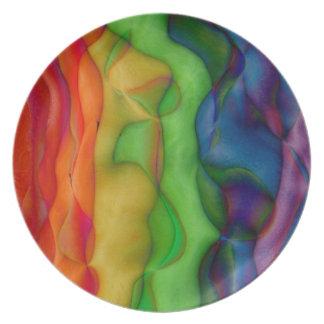 Viaje ácido del arco iris psicodélico del hippy plato