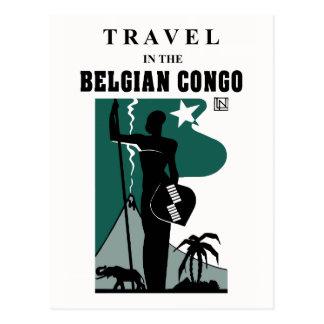 Viaje africano de Congo Belga del estilo de los añ Tarjetas Postales