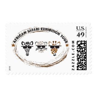 Viaje africano de la exposición del safari timbre postal