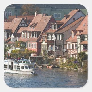 Viaje al barco en poca Venecia y río Regnitz Pegatina Cuadrada