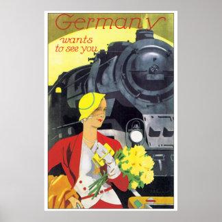 Viaje Alemania del vintage por el anuncio del tren Póster