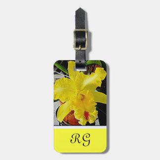 Viaje amarillo de la flor de la orquídea etiqueta para equipaje