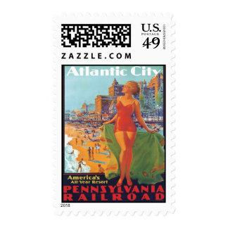 Viaje Atlantic City, New Jersey del vintage Sellos