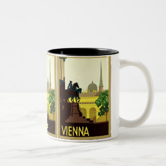 Viaje austríaco del vintage del ~ de Viena Taza De Dos Tonos