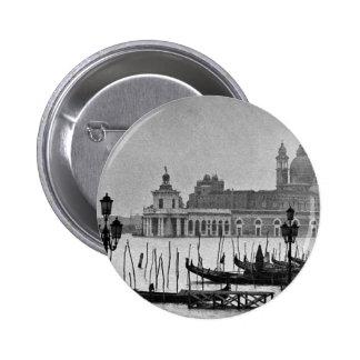 Viaje blanco negro de Venecia Italia del Gran Pin Redondo De 2 Pulgadas