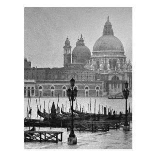 Viaje blanco negro de Venecia Italia del Gran Tarjeta Postal