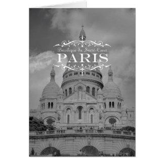 Viaje blanco y negro Notecard Sacre Coeur de París Tarjeta Pequeña