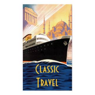 Viaje clásico del barco de cruceros plantilla de tarjeta personal