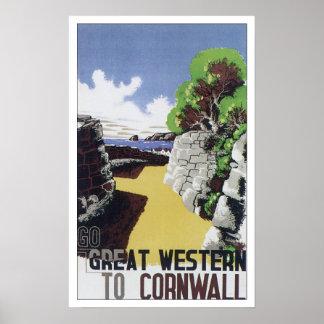 Viaje Cornualles Inglaterra del vintage Póster