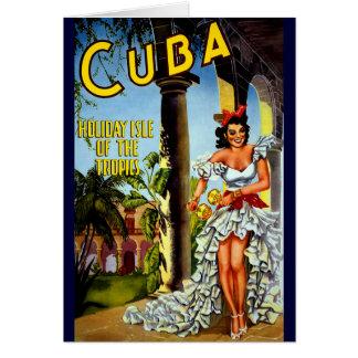 Viaje cubano del vintage del bailarín tarjeta de felicitación