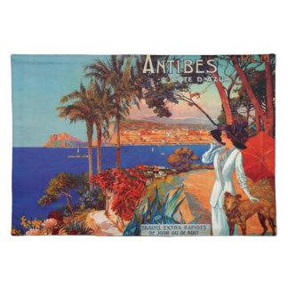 Viaje de Antibes Cote d'Azur del vintage Mantel Individual