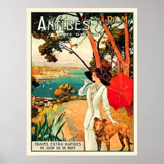 Viaje de Antibes Cote d'Azur del vintage Póster