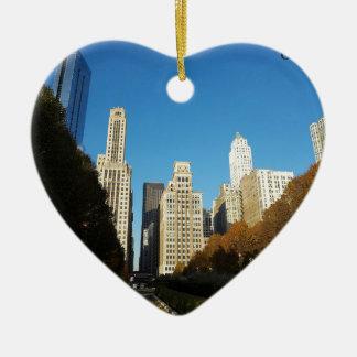 Viaje de Chicago Illinois IL los E.E.U.U. Adorno De Cerámica En Forma De Corazón