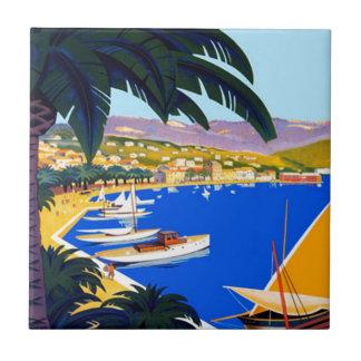 Viaje de Cote d'Azur del vintage Azulejo Cuadrado Pequeño