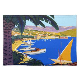 Viaje de Cote d'Azur del vintage Manteles Individuales