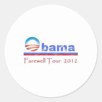 Viaje de despedida 2012 de Obama Etiquetas Redondas