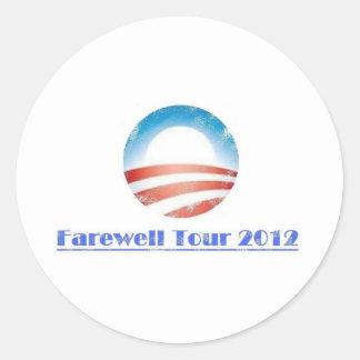 Viaje de despedida 2012 de Obama Pegatina Redonda
