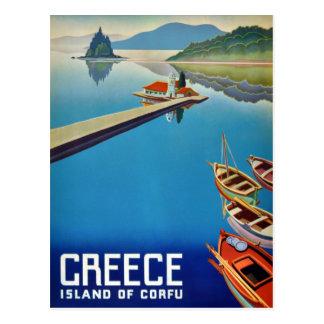 Viaje de Grecia del vintage - isla de Corfú Tarjetas Postales