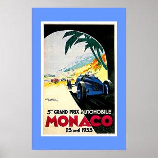 Viaje de la carrera de coches de Mónaco Grand Prix Posters