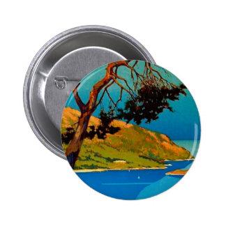 Viaje de la costa de California del vintage Pin Redondo De 2 Pulgadas