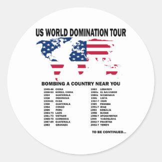 Viaje de la dominación del mundo pegatina redonda