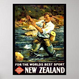 Viaje de la pesca deportiva de Nueva Zelanda del Póster