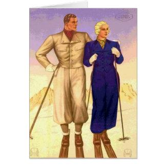 Viaje de los pares del esquí del vintage felicitacion