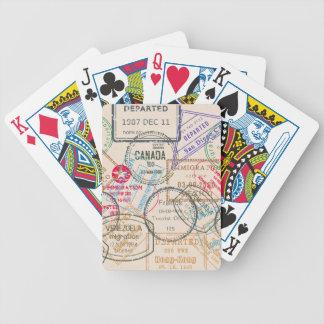 Viaje de los sellos del pasaporte baraja de cartas