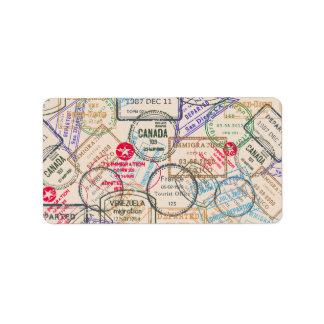 Viaje de los sellos del pasaporte etiquetas de dirección