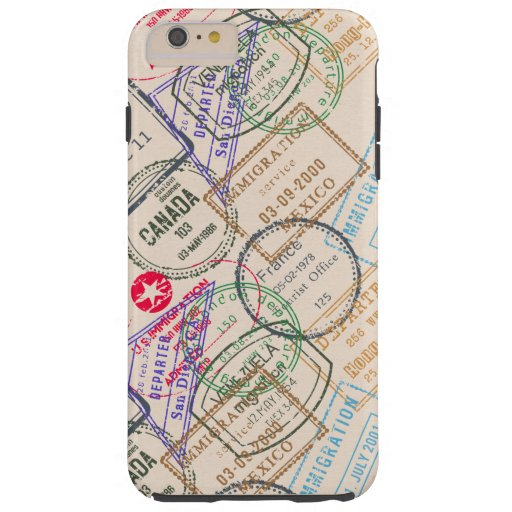 Viaje de los sellos del pasaporte funda de iPhone 6 plus tough