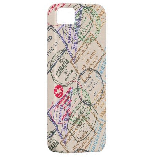 Viaje de los sellos del pasaporte iPhone 5 protectores