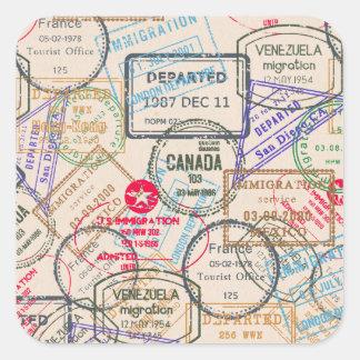 Viaje de los sellos del pasaporte calcomanías cuadradass personalizadas