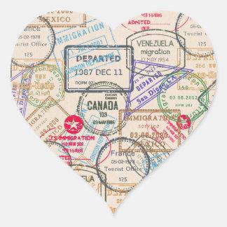 Viaje de los sellos del pasaporte pegatina en forma de corazón