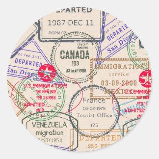 Viaje de los sellos del pasaporte pegatina redonda