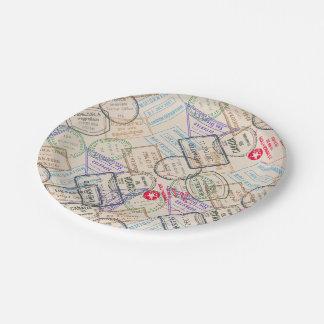 Viaje de los sellos del pasaporte plato de papel de 7 pulgadas