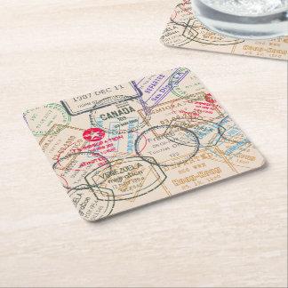 Viaje de los sellos del pasaporte posavasos desechable cuadrado