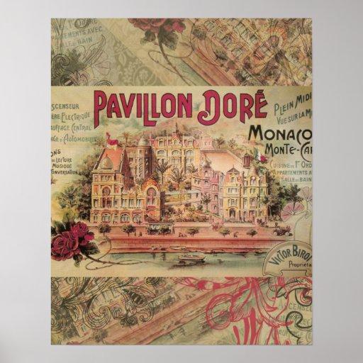 Viaje de lujo de Monte Carlo del collage de Mónaco Posters