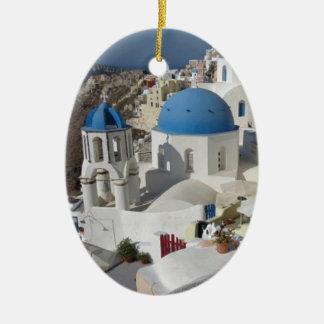 Viaje de Mykonos Grecia Adorno Navideño Ovalado De Cerámica