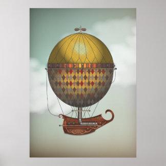 Viaje de Nautisme Steampunk del dirigible del glob Poster