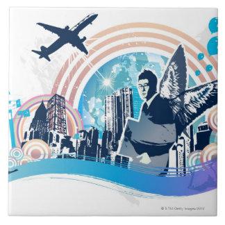 Viaje de negocios azulejo cuadrado grande