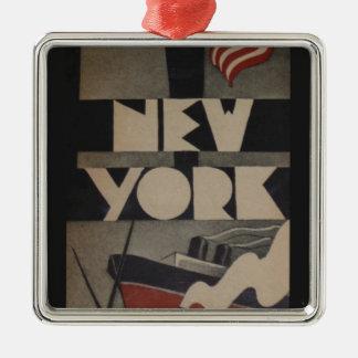 Viaje de Nueva York del vintage Adorno Navideño Cuadrado De Metal
