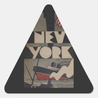Viaje de Nueva York del vintage Pegatinas Trianguloes
