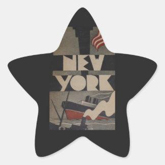 Viaje de Nueva York del vintage Calcomania Forma De Estrella