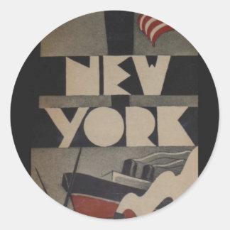 Viaje de Nueva York del vintage Pegatina Redonda