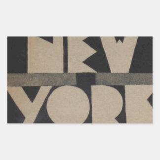 Viaje de Nueva York del vintage Rectangular Pegatinas