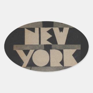 Viaje de Nueva York del vintage Calcomanías Ovales