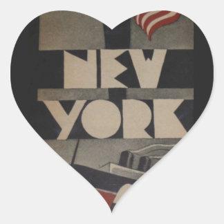 Viaje de Nueva York del vintage Colcomanias De Corazon Personalizadas