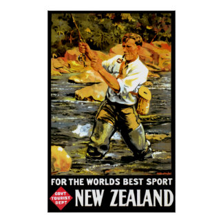Viaje de Nueva Zelanda del vintage Póster